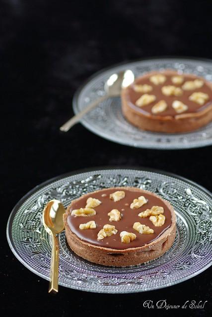Chocolate, caramel and nut tart