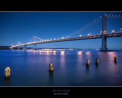 The West Span - Bay Bridge , San Francisco California (Exploring Earth) Tags: sf sanfrancisco california ca longexposure bridge night oakland nikon warf sigma baybridge bayarea bluehour 1020mm pylons hdr d90 westspan photographynikon