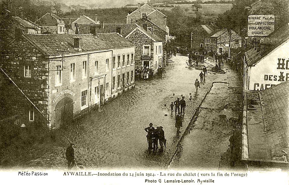 inondation du village d'Aywaille en Belgique suite aux pluies d'orage du 14 juin 1914