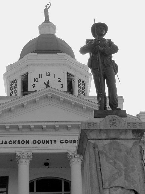Jackson Co. Courthouse & Confederate Statue- Sylva, NC