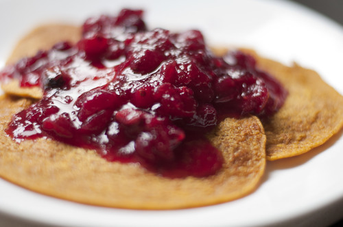 Pumpkin Pancakes with Cranberry Ginger Sauce