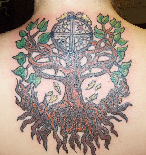 Celtic/Cherokee fusion tree and dream catcher design by conspiracy ink