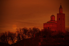 A Night on the Hill (ionut iordache) Tags: road trees sunset red moon church canon hill bulgaria velikotarnovo patriarchate tsarevets velikoturnovo canonef70200mmf28lusm canoneos50d canon50d