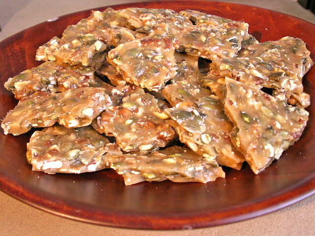 Spicy Pumpkin Seed Pecan Brittle