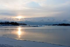 Cold November sunrise (Jukka M.) Tags: winter sea sun snow cold ice sunrise espoo finland landscape