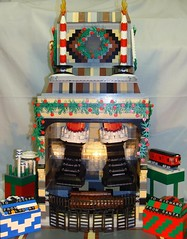 LEGO Fireplace at Christmastime (notenoughbricks) Tags: santa christmas chimney fireplace holidays lego legostore queenscentermall legonyc legoelmhurst legoqueens lugshowcase legolugshowcase legosubwaycar legoworldsfair legochristmasgifts legostocking