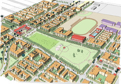 rendering of Jordan Downs redevelopment plan (by: Housing Authority of City of LA)