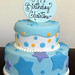 Blue Stars and Dots Cake