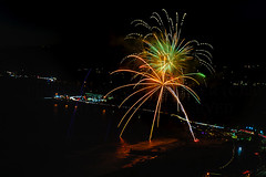 13 (morgan@morgangenser.com) Tags: pacificpalisaddes beach belairbayclub blue celebrate fireworks color iso100 july3rd loud nikon night ocean orange pch people red reflection special spectacular streaks timeexposire tripod yellow amazing