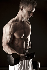 Dumbbell Curl Pose (Brad Gouthro Fitness) Tags: 6 muscles model chest pack health bodybuilder biceps fitness abs triceps
