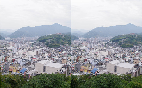 3D parallel view of Uwajima city from Uwajima castle