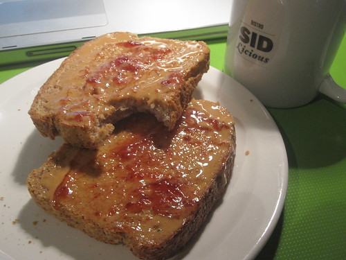 Toast with PB and jam, juice from the bistro - free
