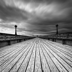 The Texture Of Wood (Scott Howse) Tags: wood longexposure england blackandwhite texture monochrome clouds pier vanishingpoint somerset symmetry lee filters decking graduated clevedon nd110 09h
