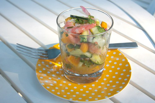 shrimp mango cucumber salad