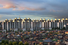 Ilsan after Typhoon Kompasu (Eric Reichbaum) Tags: houses sunset architecture clouds buildings asia apartments cityscape korea redsky typhoon ilsan baekseok kompasu baekseokdong officetels asiancityurban gettyimageskoreaq1
