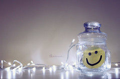 Just smile (Reem eng) Tags: smile face yellow happy lights hand made smiley jar earringseyes
