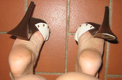 what's she doing? (al_garcia) Tags: feet high shoes sandals clogs heel mules smelly