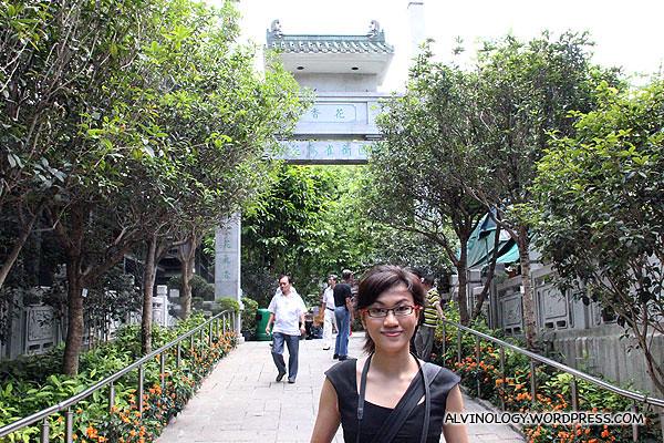 Rachel at the entrance of the garden