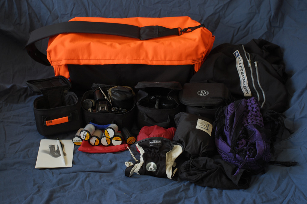 "Gear-view of the Nikon-system in DIY ""Shoulder-camera-bag 2.0""."