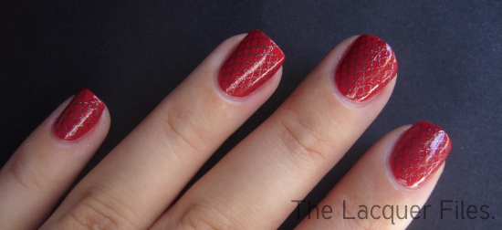 Ciaté Snatch Tomato Red Creme Konad Imageplate M57 Fishnet OPI Suzi Skis in the Pyrenees China Glaze Matte Magic