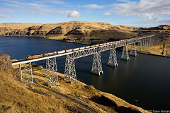BNSF 9275 on C-EBMSPB0-88A - Joso, WA (DWHonan) Tags: park railroad bridge up ferry train river washington pacific snake union rail railway trains coal bnsf railroads powerhouse lyons palouse joso dieselelectricorelectrictrainsortrams
