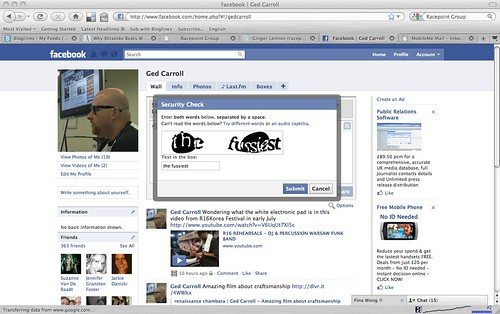 Random Facebook security captcha