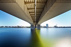 under the queensway bridge (Eric 5D Mark III) Tags: longexposure bridge blue shadow green water river vanishingpoint still perspective structure longbeach symmetric losangelesriver queenswaybridge ef1635mmf28liiusm