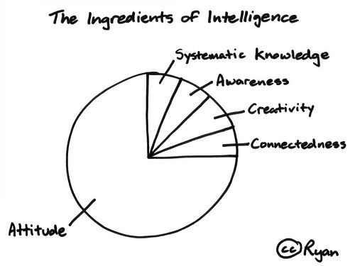 The ingredients of intelligence: Systematic knowledge, awareness, creativity, connectedness, attitude.
