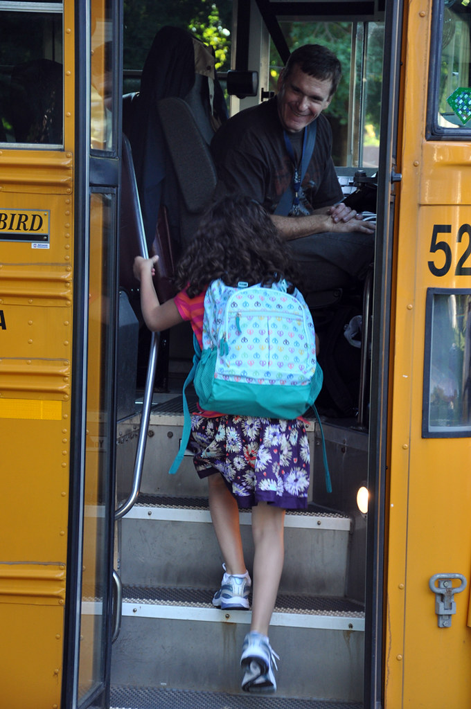 first day of school on the bus