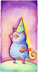Party Animal (maralina!) Tags: party fish cute green art hat illustration cat watercolor painting sketch funny chat purple drawing aquarelle violet lavender vert dessin invitation gift chapeau watercolour fte poisson fairepart whimsical cadeau croquis purpleandgreen pourpre verdo