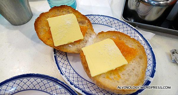 Jam and butter pineapple bun