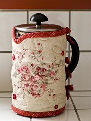 Linen & Red French Press Cozy (PatchworkPottery) Tags: coffee cozy tea handmade linen sewing crafts frenchpress fabric quilted patchwork bodum