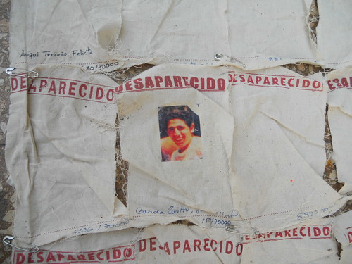 Panels of the carpet of the disappeared, footprints and all