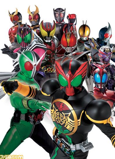 Kamen Rider OOO with all of the Heisei Era Kamen Riders