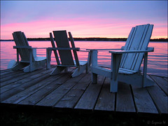 Chairs at sunset (Genie W.) Tags: lake sunsets canonpowershots45