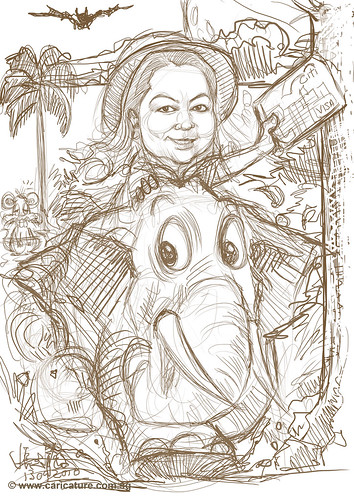Safari caricature for Citibank - draft
