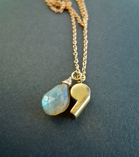 tiny whistle necklace - labradorite
