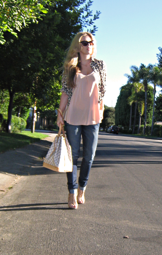 leopard print blouse+boutique 9 nude heels+nude tank blouse+louis vuitton azur noe bag+tom ford anouk sunglasses+pp