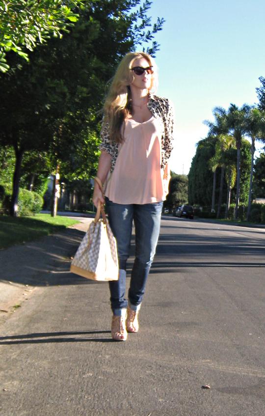 leopard print blouse+boutique 9 nude heels+nude tank blouse+louis vuitton azur noe bag+tom ford anouk sunglasses+pp