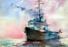 "La ""Jeanne d'Arc"" (chrisaqua47) Tags: ocean mer water watercolor painting see boat marine eau ship aquarelle vessel peinture watercolour acuarela bateau vaisseau aquerello"