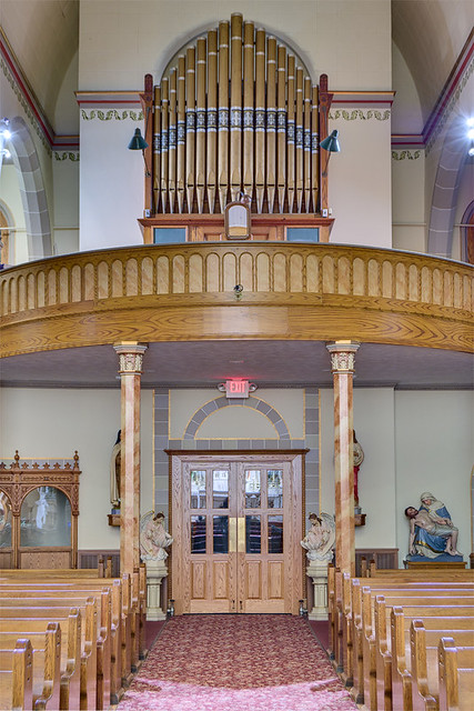 Saint Joseph Roman Catholic Church, in Josephville, Missouri, USA - choir loft and pipe organ