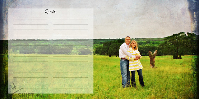 wedding guest book engagement photo full page with room for signatures