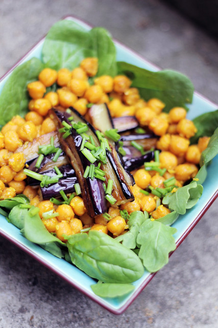 Middle East Salad - Fried Aubergine and chickpeas