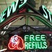Free refills with dog neon sign