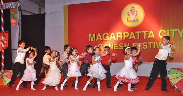 Childen performing at the Magarpatta City Ganesh Festival