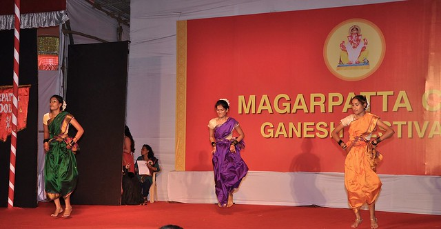 Dancing to the cultural beats at the Magarpatta city Ganesh Festival