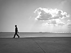 Istanbul (Francesco Baldiotti) Tags: boy sea sky bw cloud sun guy skyline contrast walking blackwhite nuvole mare steps almostbw highcontrast award istanbul bn sole navi biancoenero sunnyday ragazzo orizzonte turchia bosforo falcata kennedystreet olympuse410