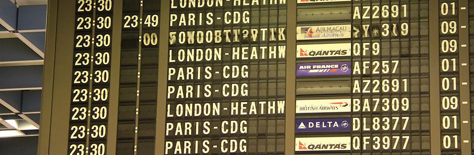 Fotografía de un panel típico de aeropuerto