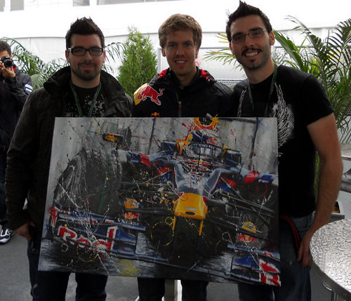 Sebastian Vettel with the Rotonto Bros