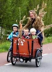 Fun (Iam Marjon Bleeker) Tags: holland amsterdam bike bicycle kids children mother mum westerpark bakfiets deliverybike